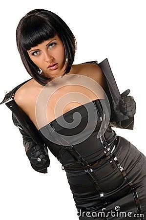 Beautiful woman dressed in black