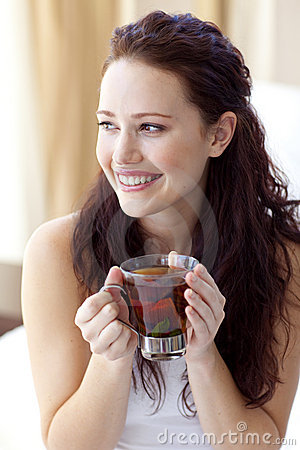 Free Beautiful Woman Drinking A Cup Of Tea In Bed Royalty Free Stock Image - 11569006