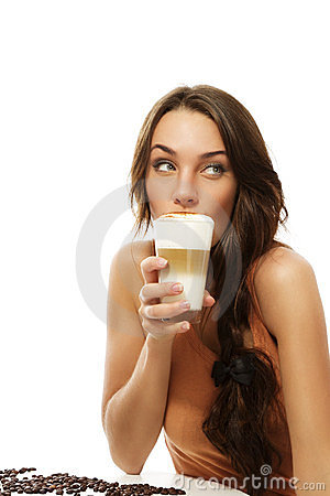 Beautiful woman drinking latte macchiato coffee lo