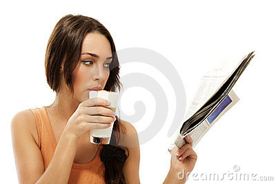 Beautiful woman drinking latte macchiato coffee re