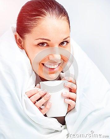 Free Beautiful Woman Drinking Tea Royalty Free Stock Photos - 37555278