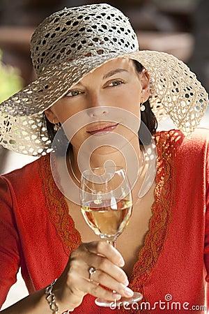 Free Beautiful Woman Drinking Wine Royalty Free Stock Photo - 9962165