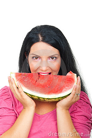 Beautiful woman eating  watermelon