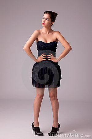 Beautiful woman with elegant dress,thinking