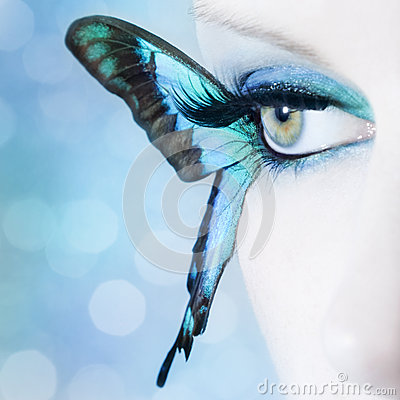 Free Beautiful Woman Eye Close Up With Butterfly Wings Stock Photography - 39500132