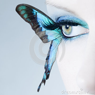 Free Beautiful Woman Eye Close Up With Butterfly Wings Royalty Free Stock Images - 39500279
