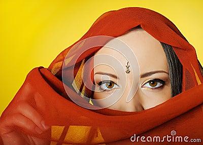 Beautiful woman eyes in indian traditional bindi