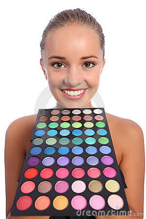 Beautiful woman with eyeshadow colour 60 palette