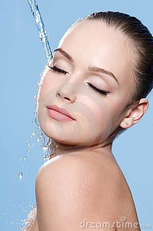 Free Beautiful Woman Face And Water Stock Image - 23286041