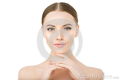 Beautiful woman face close up studio on white Beauty spa model f Stock Photo