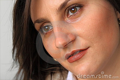Beautiful woman face closeup.