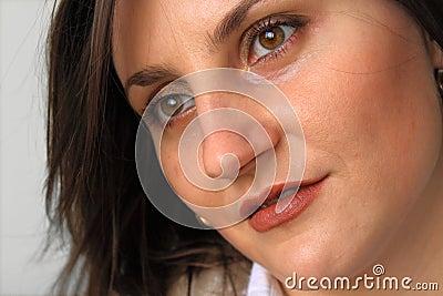 Beautiful woman face closeup.