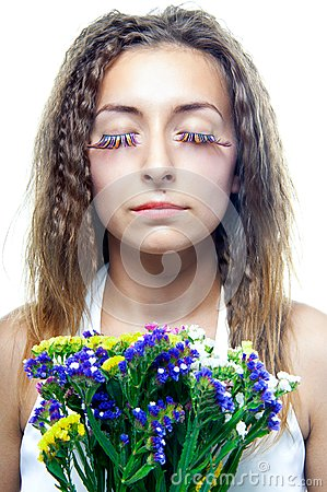 Beautiful  woman face with flowers