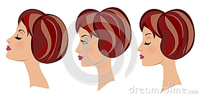 Beautiful Woman Face Three Expressions