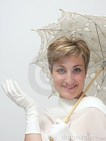 Beautiful woman with fancy umbrella