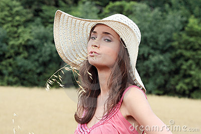 Beautiful woman on farmland