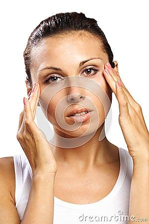 Beautiful woman feeling pain headache isolated