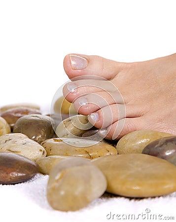 Free Beautiful Woman Feet On Stones. Royalty Free Stock Photo - 7935635