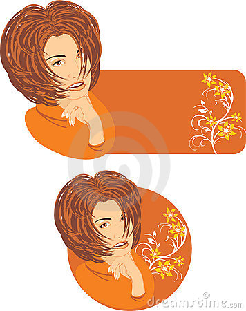 Beautiful woman with floral ornament. Two stickers