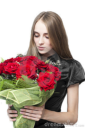Beautiful woman with flowers isolated
