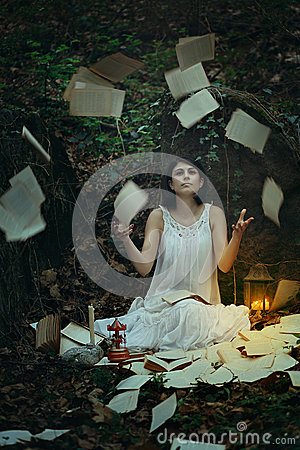 Beautiful Woman With Flying Pages And Books Stock Photo ...