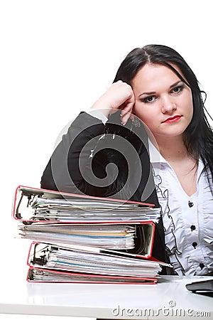 Beautiful woman with folders