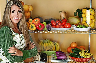 Beautiful woman with fresh produce