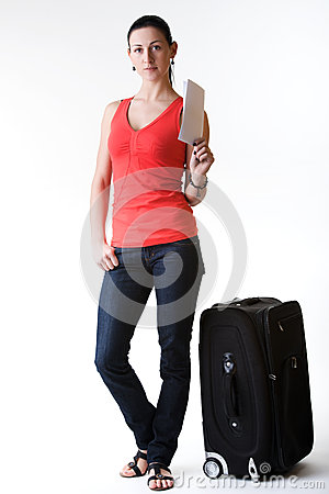 Tourist woman ready for departure