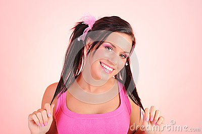 Beautiful woman with funny dual pony tails