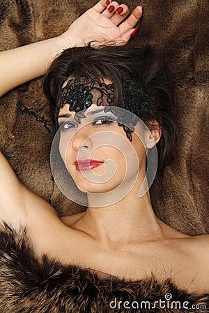 Beautiful woman on the fur