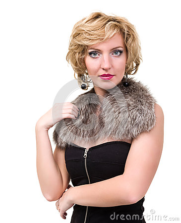 Beautiful woman with fur