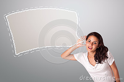 Beautiful woman gesturing with abstract speech bubble copy space