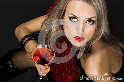 Beautiful woman with glass