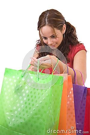 Beautiful woman goes shopping