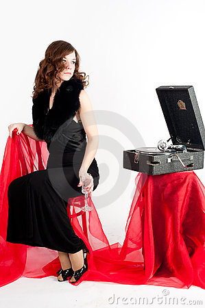 Beautiful woman with gramophone,