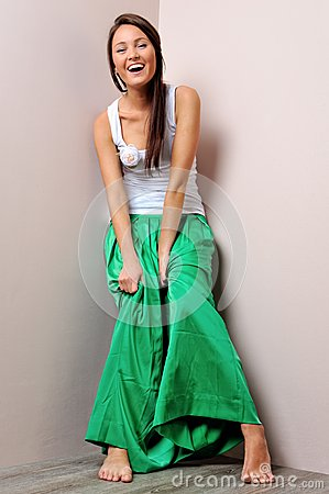 Beautiful woman in green skirt.