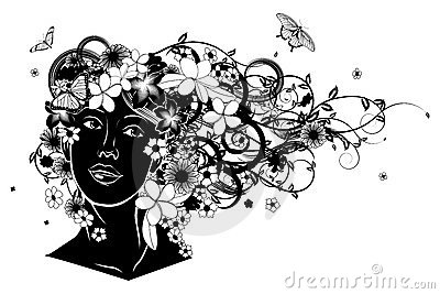 Beautiful woman with hair made of flowers