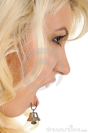 Beautiful woman with hand bell in lip