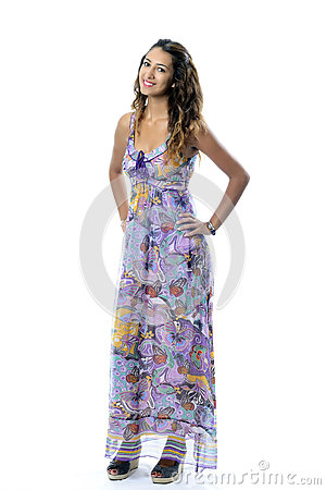 Beautiful woman happy screaming in colorful dress
