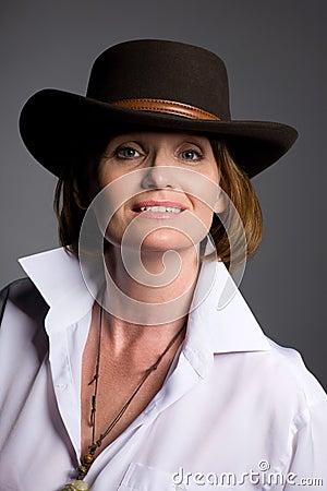 Beautiful woman in a hat.