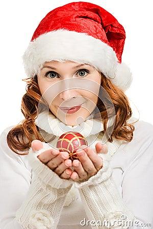 Beautiful woman hat as Santa