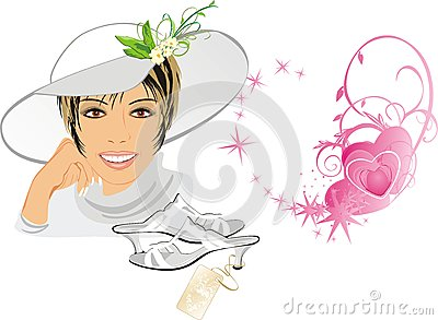 Beautiful woman with hat and shoes. Romance compos