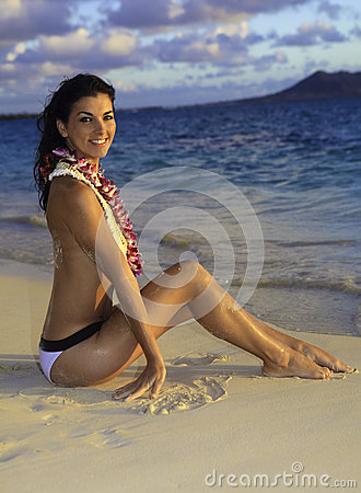 Beautiful woman on a hawaii beach