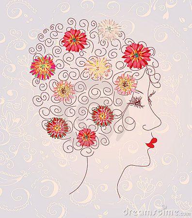 Beautiful woman head on the floral pattern