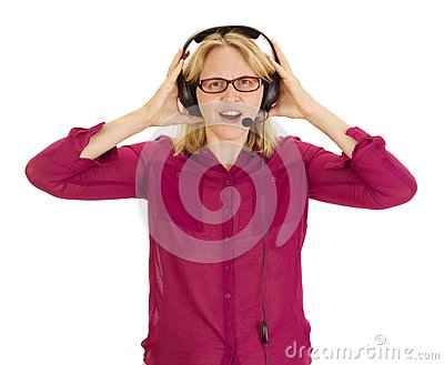 Beautiful Woman With Head Set Royalty Free Stock Image - Image: 26620286