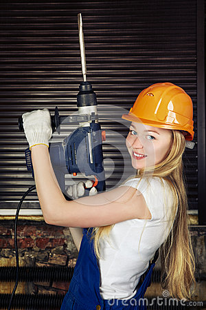Beautiful Woman With Heavy Drill