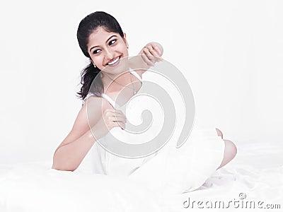 Beautiful woman in her negligee