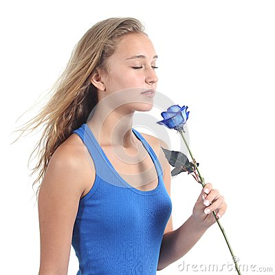 Free Beautiful Woman Holding And Smelling A Blue Rose Stock Images - 31202584