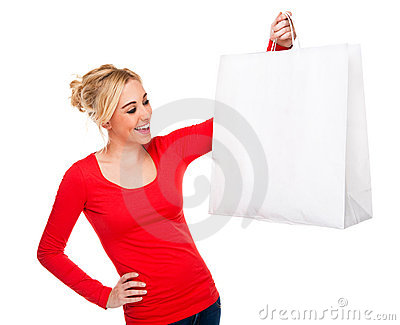 Beautiful Woman Holding Bag With Copy Space