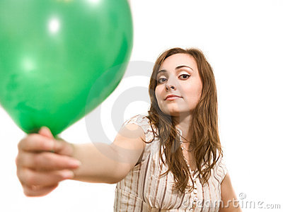 Beautiful woman holding a balloon